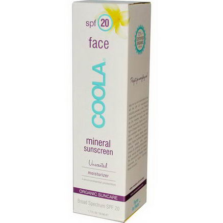 COOLA Organic Suncare Collection, Face, Mineral Sunscreen, SPF 20, Unscented, 1.7 fl oz (50 ml)