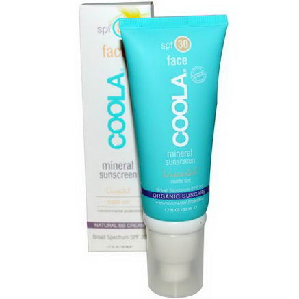 COOLA Organic Suncare Collection, Face, Mineral Sunscreen, SPF 30, Matte Tint, Unscented, 1.7 fl oz (50 ml)