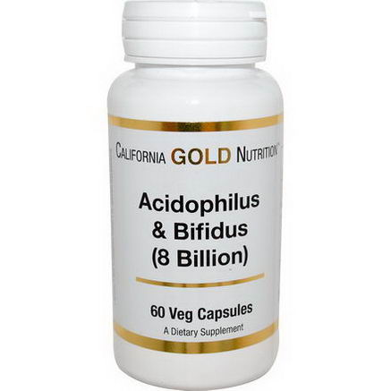 California Gold Nutrition, Acidophilus & Bifidus (8 Billion), 60 Veggie Caps
