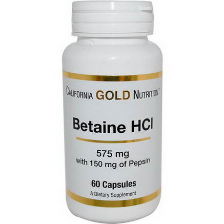 California Gold Nutrition, Betaine HCl, 575mg, 60 Capsules