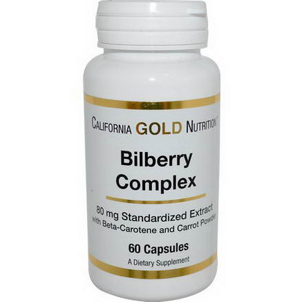 California Gold Nutrition, Bilberry Complex, 80mg, 60 Capsules