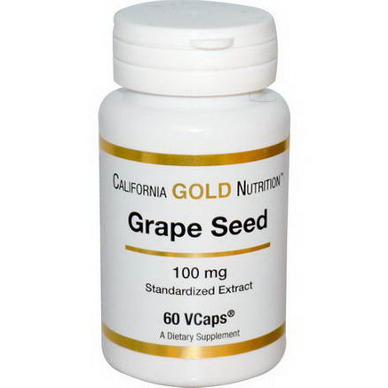 California Gold Nutrition, Grape Seed, 100mg, 60 Vcaps