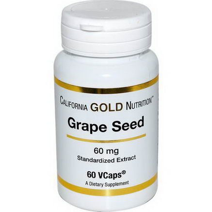 California Gold Nutrition, Grape Seed, 60mg, 60 VCaps