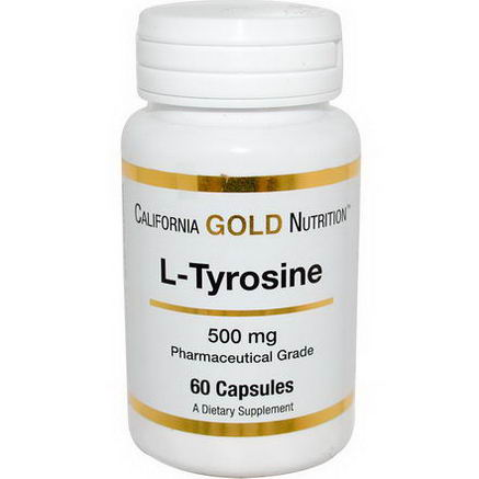 California Gold Nutrition, L-Tyrosine, 500mg, 60 Capsules