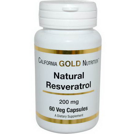 California Gold Nutrition, Natural Resveratrol, 200mg, 60 Veggie Caps