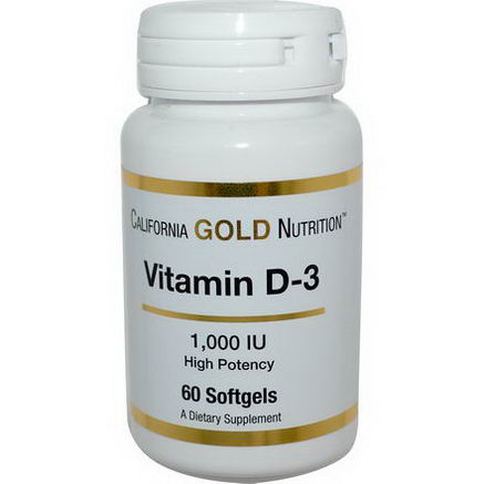 California Gold Nutrition, Vitamin D-3, 1, 000 IU, 60 Softgels