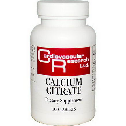 Cardiovascular Research Ltd. Calcium Citrate, 100 Tablets