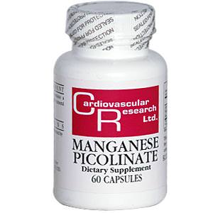 Cardiovascular Research Ltd. Manganese Picolinate, 60 Capsules