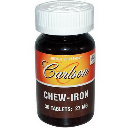Carlson Labs, Chew-Iron, Natural Grape Flavor, 27mg, 30 Tablets