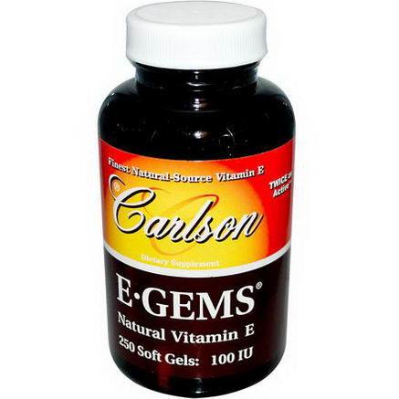 Carlson Labs, E Gems, Natural Vitamin E, 100 IU, 250 Softgels