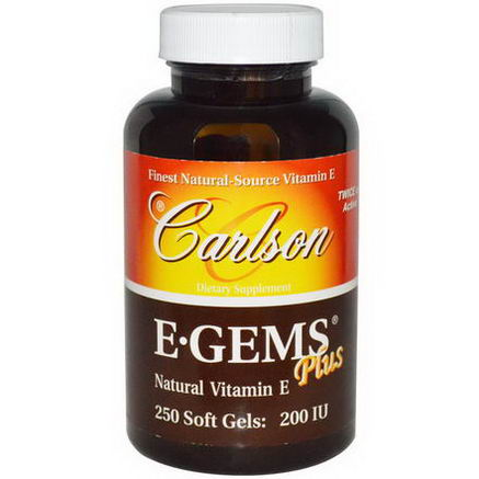 Carlson Labs, E Gems Plus, 200 IU, 250 Soft Gels