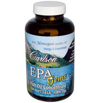 Carlson Labs, EPA Gems, Fish Oil Concentrate, 1000mg, 120 Softgels