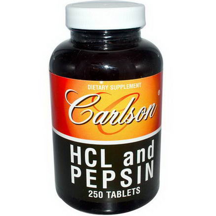 Carlson Labs, HCL and Pepsin, 250 Tablets