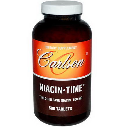 Carlson Labs, Niacin Time, 500mg, 500 Tablets