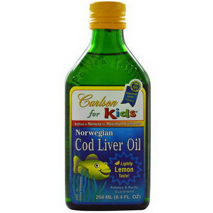 Carlson Labs, Norwegian Cod Liver Oil, For Kids, Lemon, 8.4 fl oz (250 ml)