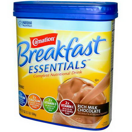 Carnation Breakfast Essentials, Complete Nutritional Drink, Rich Milk Chocolate, 17.7oz (504g)
