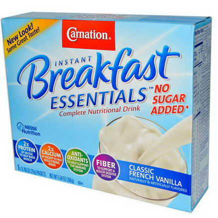 Carnation Breakfast Essentials, No Sugar Added, Classic French Vanilla, 8 Packets, 0.705oz (20g) Each