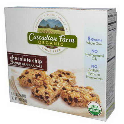 Cascadian Farm, Organic Chewy Granola Bars, Chocolate Chip, 6 Bars, 1.2oz (35g) Each