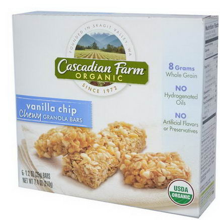 Cascadian Farm, Organic Chewy Granola Bars, Vanilla Chip, 6 Bars, 1.2oz (35g) Each