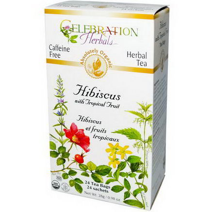 Celebration Herbals, Herbal Tea, Hibiscus with Tropical Fruit, Caffeine Free, 24 Tea Bags, 0.98oz (28g)