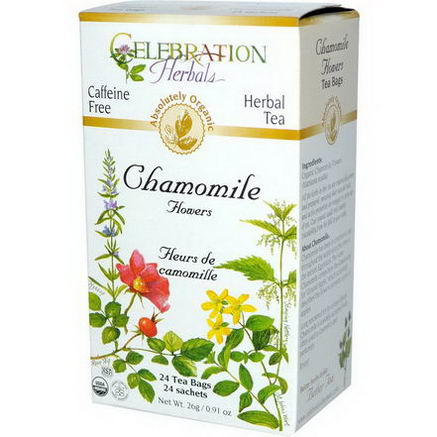 Celebration Herbals, Organic, Herbal Tea, Chamomile Flowers, Caffeine Free, 24 Tea Bags, 0.91oz (26g)