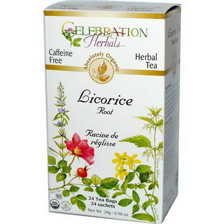 Celebration Herbals, Organic, Herbal Tea, Licorice Root, Caffeine Free, 24 Tea Bags, 0.98oz (28g)