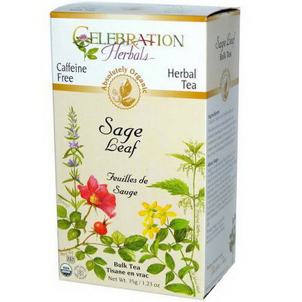 Celebration Herbals, Organic, Herbal Tea, Sage Leaf, Bulk Tea, Caffeine Free, 1.23oz (35g)