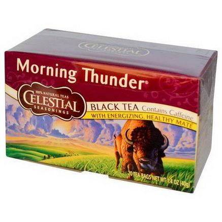 Celestial Seasonings, Black Tea, Morning Thunder, 20 Tea Bags, 1.4oz (40g)