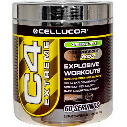 Cellucor, C4 Extreme, Pre-Workout w/N03, Green Apple, 330g