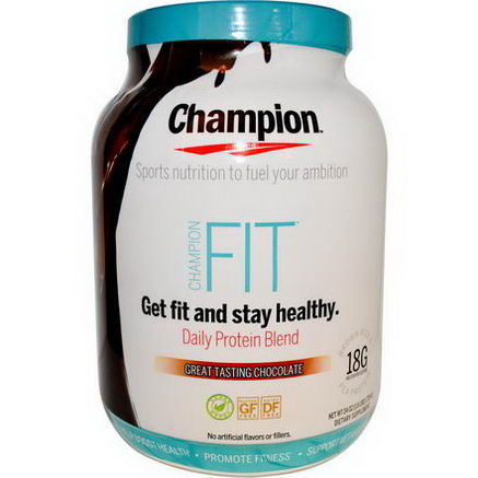 Champion Naturals, Fit, Daily Protein Blend, Great Tasting Chocolate, 24oz (725g)