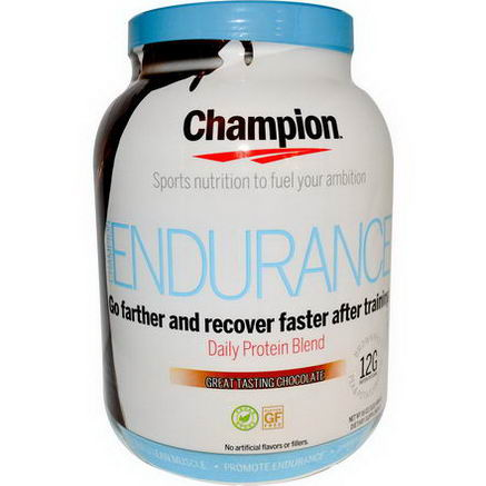 Champion Naturals, Endurance, Daily Protein Blend, Great Tasting Chocolate, 16oz (466g)