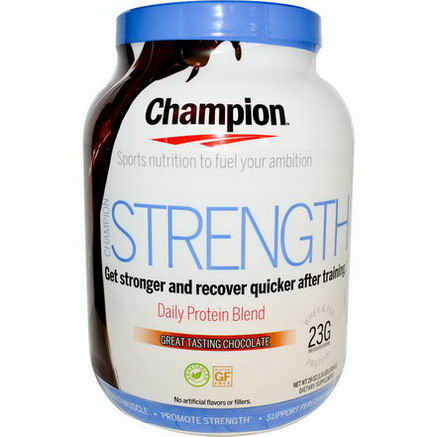 Champion Naturals, Strength, Daily Protein Blend, Great Tasting Chocolate, 29oz (824g)