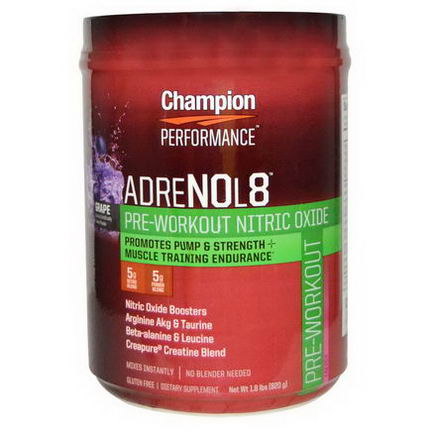 Champion Nutrition, AdreNOL8, Nitric Oxide Pre-Workout Formula, Grape, 1.8 lb (820g)