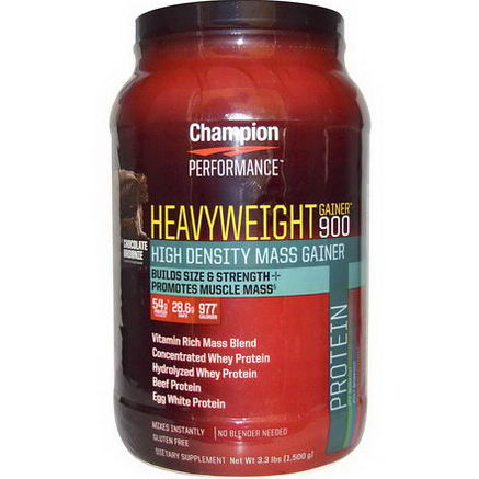 Champion Nutrition, Heavyweight Gainer 900, Chocolate Brownie, 3.3 lbs (1, 500g)