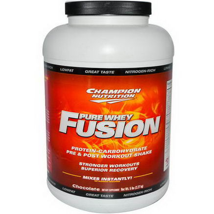 Champion Nutrition, Pure Whey Fusion, Pre & Post Workout Shake, Chocolate, 5 lbs (2.27 kg)
