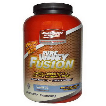 Champion Nutrition, Pure Whey Fusion, Pre & Post Workout Shake, Vanilla, 5 lbs (2.27 kg)