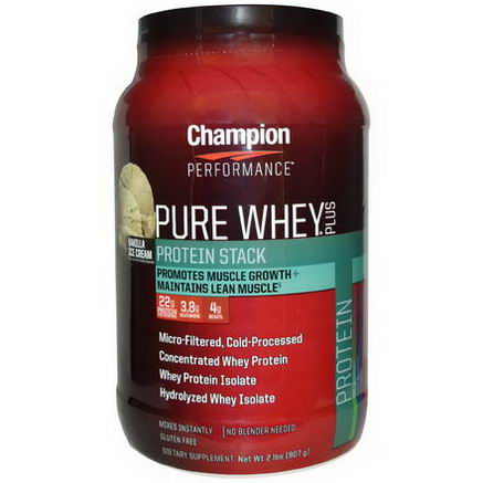 Champion Nutrition, Pure Whey Plus, Protein Stack, Vanilla Ice Cream, 2 lbs (907g)