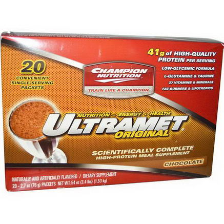 Champion Nutrition, Ultramet Original, High-Protein Meal Supplement, Chocolate, 20 Packets, 2.7oz (76g) Each