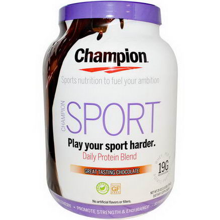 Champion Naturals, Sport, Daily Protein Blend, Great Tasting Chocolate, 25oz (704g)
