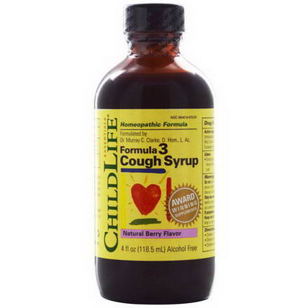 ChildLife, Formula 3 Cough Syrup, Alcohol Free, Natural Berry Flavor, 4 fl oz (118.5 ml)