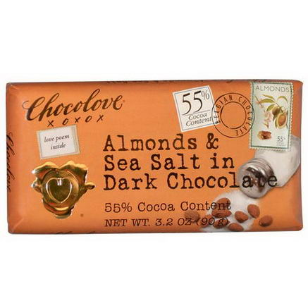 Chocolove, Almonds & Sea Salt in Dark Chocolate, 3.2oz (90g)