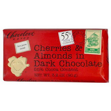 Chocolove, Cherries & Almonds in Dark Chocolate, 3.2oz (90g)