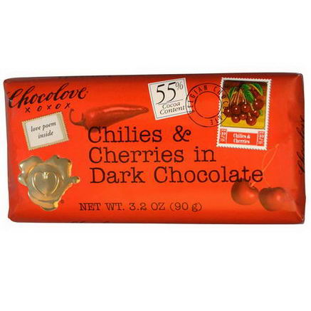 Chocolove, Chilies & Cherries in Dark Chocolate, 3.2oz (90g)