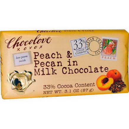 Chocolove, Peach & Pecan in Milk Chocolate, 3.1oz (87g)