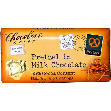 Chocolove, Pretzel in Milk Chocolate, 2.9oz (83g)