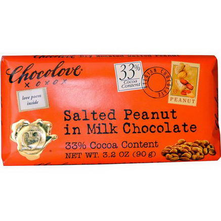 Chocolove, Salted Peanut in Milk Chocolate, 3.2oz (90g)