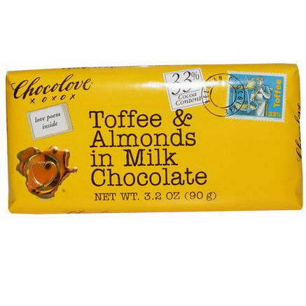 Chocolove, Toffee & Almonds in Milk Chocolate, 3.2oz (90g)