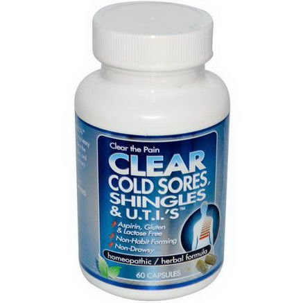 Clear Products, Clear Cold Sores, Shingles & U. T. I. 's, 60 Capsules