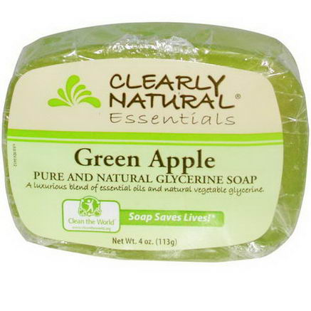 Clearly Natural, Essentials, Pure and Natural Glycerine Soap, Green Apple, 4oz (113g)