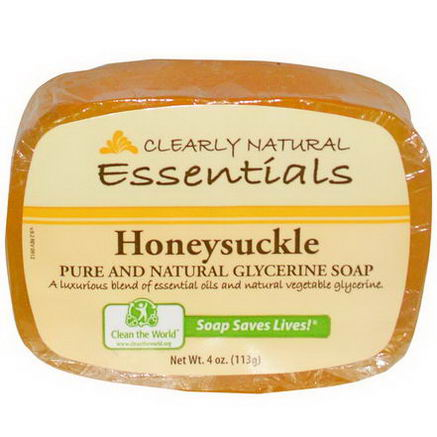 Clearly Natural, Essentials, Pure and Natural Glycerine Soap, Honeysuckle, 4oz (113g)